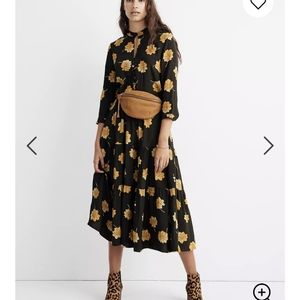 Madewell Button-front Tier Dress Fall Flowers - XS